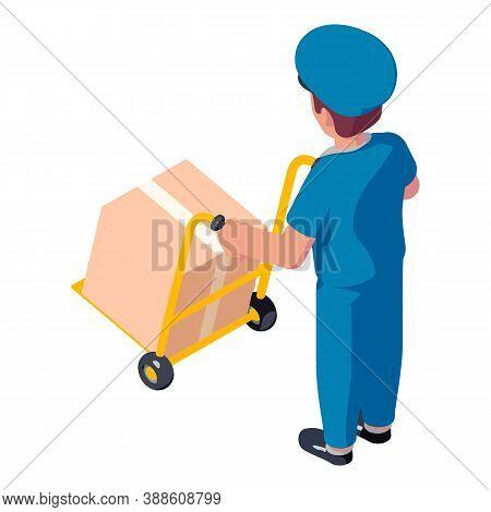 Postman Take Parcel Cart Icon. Isometric Of Postman Take Parcel Cart Vector Icon For Web Design Isol