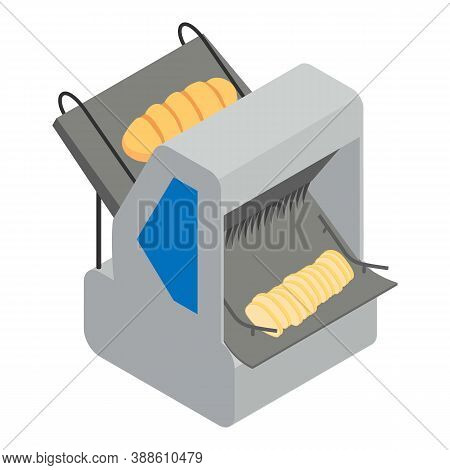 Bakery Factory Bread Cutting Icon. Isometric Of Bakery Factory Bread Cutting Vector Icon For Web Des