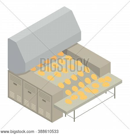 Bakery Factory Line Icon. Isometric Of Bakery Factory Line Vector Icon For Web Design Isolated On Wh
