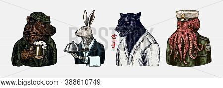 Grizzly Bear With A Beer Mug. Octopus Sailor And Hare Or Rabbit Waiter. Black Panther. Japanese Text