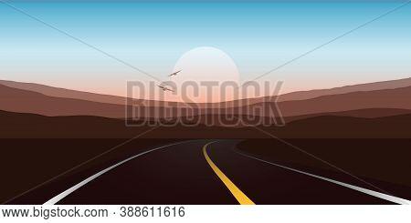 Road Trip Asphalt Road In The Mountains Vector Illustration Eps10