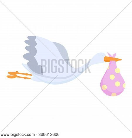 Childbirth Stork Icon. Cartoon Of Childbirth Stork Vector Icon For Web Design Isolated On White Back