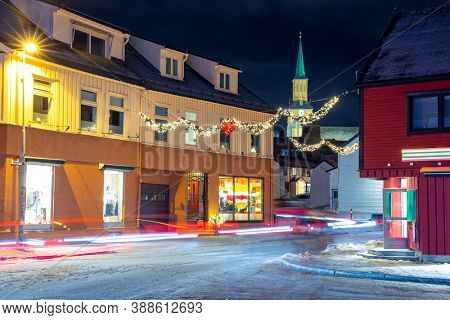 Christmas Decorations in Center Of Tromso, Norway,