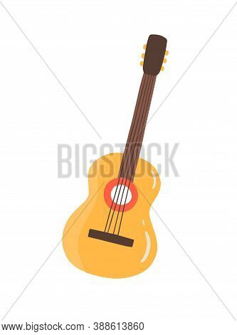 Classic Cuban Guitar Vector Flat Illustration. Traditional Four-string Musical Instrument Isolated.