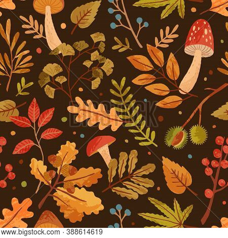 Seamless Pattern Decorated With Autumn Leaves, Forest Mushrooms And Tree Branches. Repeatable Season