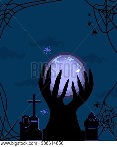 Halloween Illustration With Witch's Magic Luminous Ball And Cemetery,tombstones.conjure,make A Predi