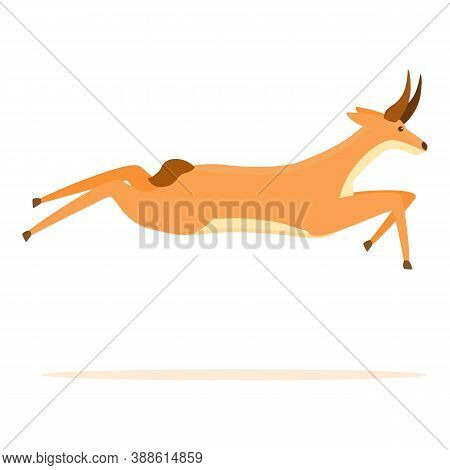 Running Gazelle Icon. Cartoon Of Running Gazelle Vector Icon For Web Design Isolated On White Backgr