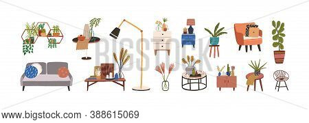 Set Of Furniture And Decor Elements Vector Flat Illustration. Collection Of Home Decorations For Cos