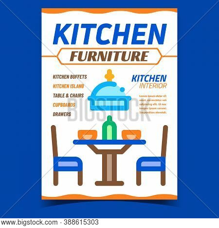 Kitchen Furniture Creative Promo Banner Vector. Buffets And Island, Table And Chairs, Cupboards And