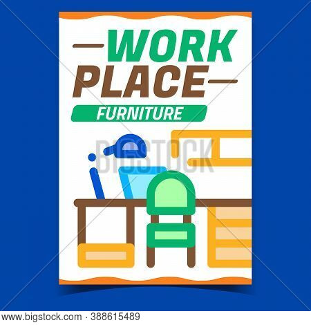 Workplace Furniture Promotional Banner Vector. Workplace Table And Chair, Shelf And Lamp Advertising