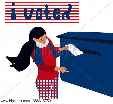 Elections, Vote Day In Usa Or Other Country.young Girl Puts Envelope In The Postbox And Polling.vect