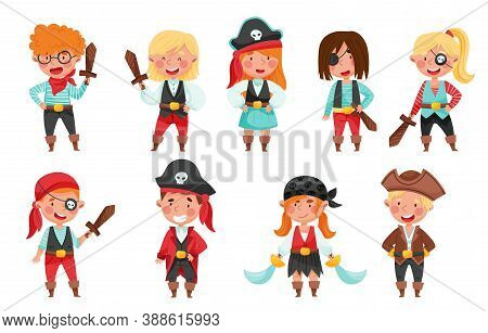 Cheerful Boys And Girls In Pirate Costumes With Sword Or Saber Vector Set