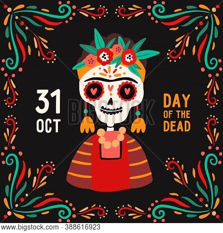 Decorative Square Card With Calavera Catrina Skull. Flyer Design For Mexican National Holiday Day Of