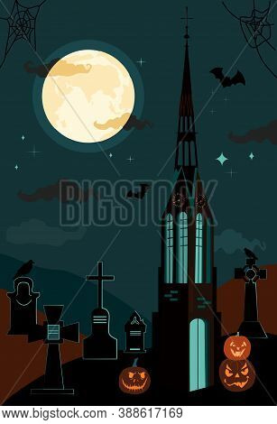 Halloween Gothic Catholic Church And Clock Tower.bats In The Twilight Sky,full Moon And Terrible Pum