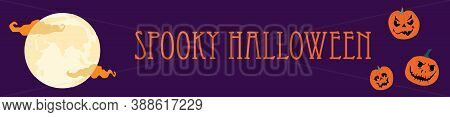 Halloween Spooky Night Horizontal Banner With Various Pumpkins With Weird Facial Expressions. Jack O