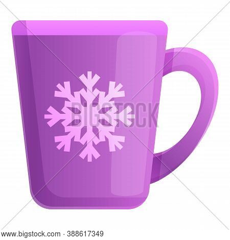 Mug With Snowflake Icon. Cartoon Of Mug With Snowflake Vector Icon For Web Design Isolated On White