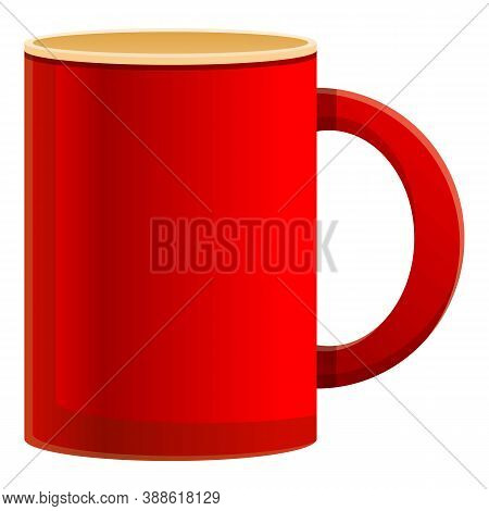 Red Mug Icon. Cartoon Of Red Mug Vector Icon For Web Design Isolated On White Background