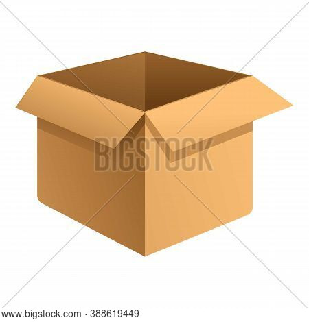 Open Parcel Box Icon. Cartoon Of Open Parcel Box Vector Icon For Web Design Isolated On White Backgr