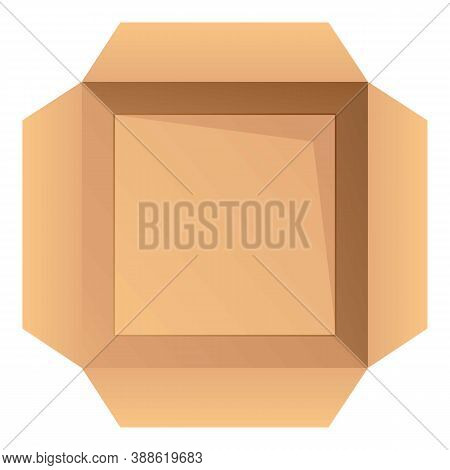 Open Top View Parcel Icon. Cartoon Of Open Top View Parcel Vector Icon For Web Design Isolated On Wh