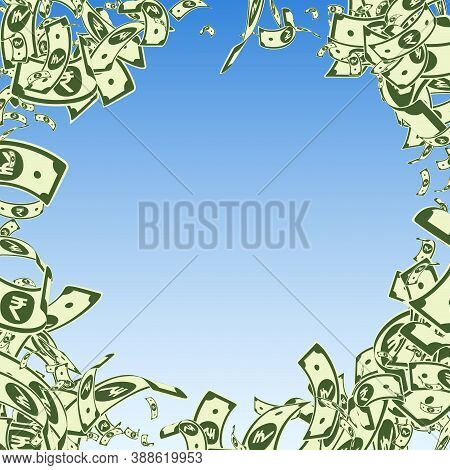 Indian Rupee Notes Falling. Messy Inr Bills On Blue Sky Background. India Money. Brilliant Vector Il