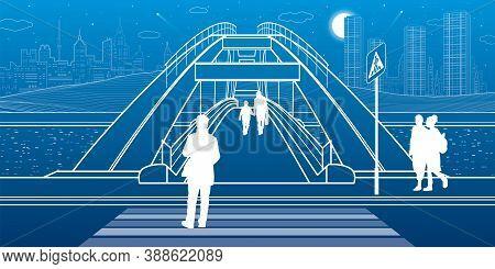 Pedestrian Bridge Over The River. Night City At Background. Infrastructure Illustration. Vector Desi