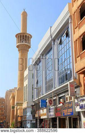 Dubai, Uae - December 9, 2017: People Visit Shopping Street In Al Souk Al Kabeer District Of Dubai,