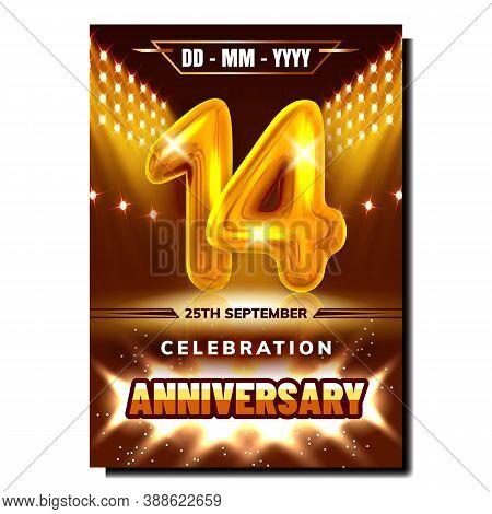 14 Celebration Anniversary Promo Poster Vector. Company Business Fourteen Anniversary Celebrate Part