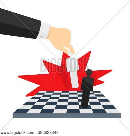 Checkmate Concept - Chess Board And Human Hand With People Instead Of Figures - Visual For Business