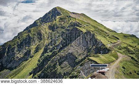 Rosa Khutor, Russia - August 22, 2020: Stone Pillar Peak At Summer Day In Rosa Khutor Resort In Soch