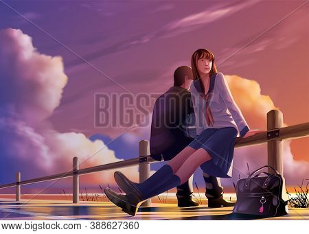 Vector Illustration In An Anime Style Of Young Japanese Students Relax Together At The Harbor In The