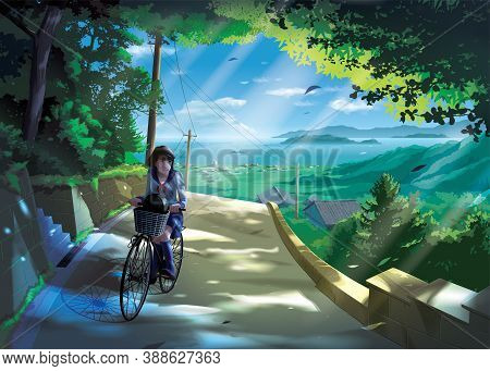 Vector Illustration In An Anime Style Of A Japanese Girl Student Rides A Bicycle On A Road In The Co