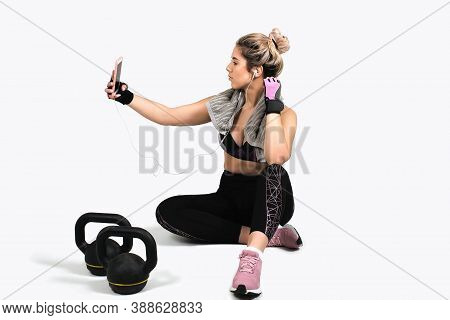 White Background Studio, Muscular Woman Posing With Kettlebell