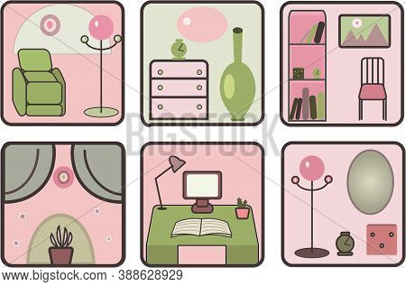 Furniture items: armchair, cupboard, sideboard in green and pink shades. Vector.