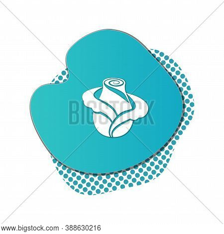Rose Flower Icon On Liquid Colored Badge With Shadow. Floral Modern Symbol. White Sign On Blue Cerul