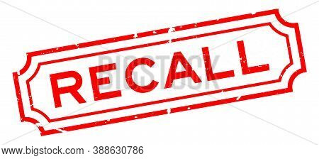 Grunge Red Recall Word Square Rubber Seal Stamp On White Background