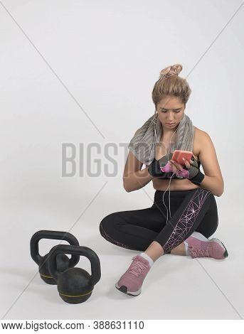 White Background Studio, Muscular Woman, Workout, Take A Break