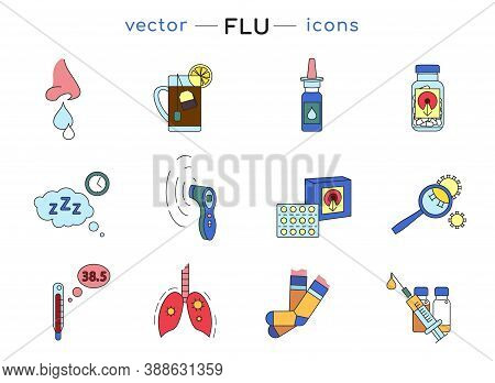Flu And Cold Treatment Icon Set. Grippe Pandemic Collection. Medicine Concept. Healthcare Design. Si