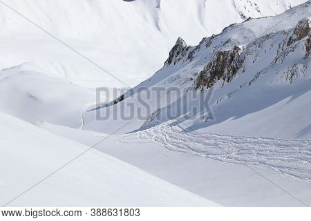 Off Piste Skiing In Mayrhofen, Austria. Ski Resort In Tyrol Region.