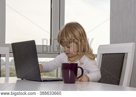 A Little Girl Is Messing Around And Pushing Buttons On Her Laptop. Concept: Rapid Development Of Mod
