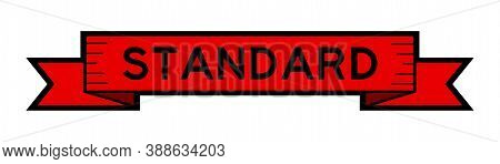 Vintage Red Color Label Banner With Word Standard On White Background