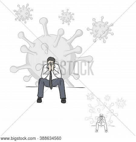Businessman Loss Job Due To Covid-19 Virus Outbreak Vector Illustration Sketch Doodle Hand Drawn Wit