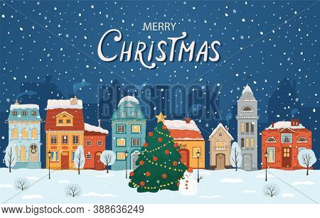 Winter Night City In Retro Style. Christmas Background With Houses, Christmas Tree, Snowman. Cozy To