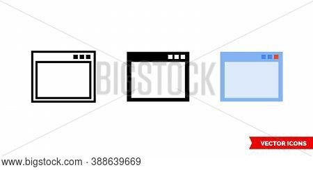 Application Window Icon Of 3 Types Color, Black And White, Outline. Isolated Vector Sign Symbol.