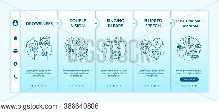 Head Trauma Onboarding Vector Template. Drowsiness And Sleepiness. Double Vision. Brain Health Care.