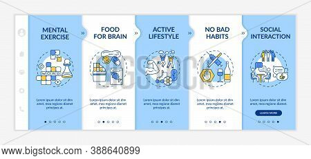 Brain Health Onboarding Vector Template. Mental Exercise. Active Lifestyle. Food For Brain. Responsi
