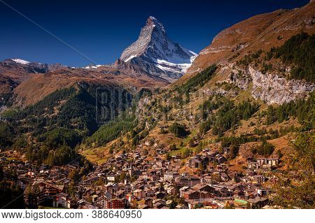 Zermatt, Switzerland. Image Of Iconic Village Of Zermatt, Switzerland With The Matterhorn In The Bac