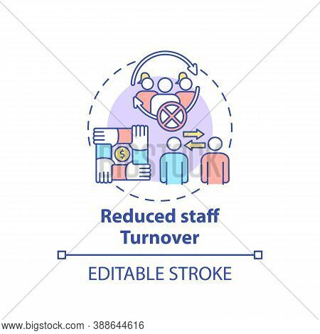 Reduced Staff Turnover Concept Icon. Gender Diversity Policy Benefits. Employee Mananging Tutorial I