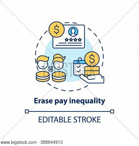 Erase Pay Inequality Concept Icon. Gender Diversity Implementation Tips. Bank Acounting Equality Ide