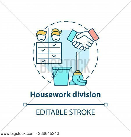 Housework Division Concept Icon. Changing Gender Roles. Home Duty Types. Cleaning Responsibilities I