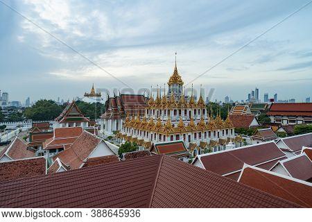 Loha Prasat Wat Ratchanatda And Golden Mountain Pagoda, A Buddhist Temple Or Wat Saket With Skyscrap